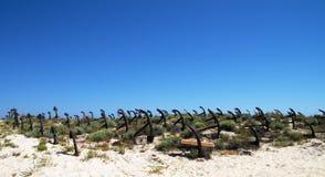 Anchor cemetery landscape against blue sky Stock Photography
