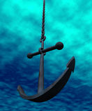 Anchor and chain. Underwater illustration of  anchor hanging in the chain Stock Image