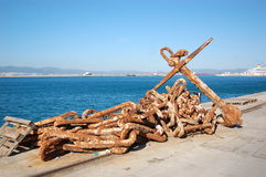 Anchor Chain. An old Anchor and chain on Coaling Island Gibraltar stock image