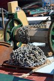Anchor chain on boat Royalty Free Stock Photo