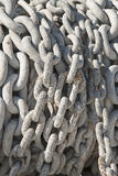 Anchor Chain. Galvanized Chain on a anchor winch on a fishing boat in Charleston Harbor on Oregon's Southcoast Royalty Free Stock Photography