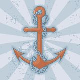 Anchor with chain on grunge Royalty Free Stock Image