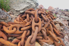 Anchor chain from a huge ship Royalty Free Stock Photography
