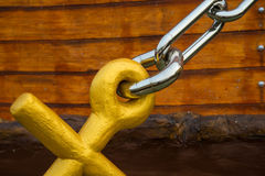 Anchor chain. For interpreter ship models in Thailand stock image