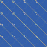 Anchor and chain. Seamless marine  pattern. Royalty Free Stock Photo