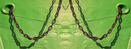 Anchor chain - Shadow Play - links Royalty Free Stock Photo