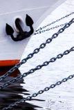 Anchor chain on a ship. Baltic sea Stock Image