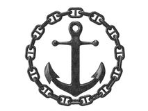Anchor with chain. On white stock images