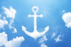 Anchor cloud shape on sky. Royalty Free Stock Photos