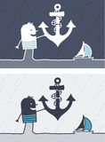 Anchor colored cartoon Royalty Free Stock Images