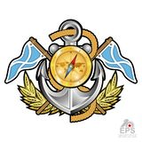 Anchor with compass, gold crown between wreath and flags on white. Sport logo for any yachting or sailing team. Or championship royalty free illustration