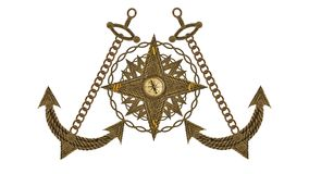 Anchor compass and ship steering wheel Royalty Free Stock Photography