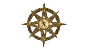 Anchor compass and ship steering wheel Royalty Free Stock Photos