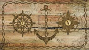 Anchor compass and ship steering wheel on wooden board Stock Photos