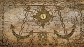 Anchor compass and ship steering wheel on wooden board Stock Photo