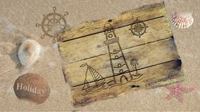 Anchor compass and ship steering wheel on wooden board Royalty Free Stock Photo