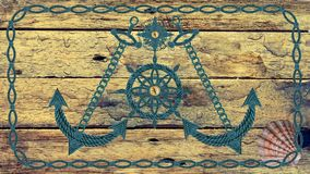 Anchor compass and ship steering wheel on wooden board Stock Photography