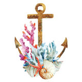 Anchor with corals Royalty Free Stock Photography