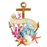 Anchor with corals. Beautiful vector image with nice watercolor anchor with corals Stock Image
