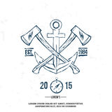 Anchor with crossed axes. Design elements. T-shirt print Stock Images