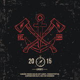 Anchor with crossed axes. Design elements. T-shirt print Vector. Illustration Royalty Free Stock Photos