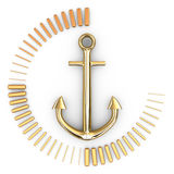 Anchor, 3D. Anchor on white background, 3D rendering image Royalty Free Stock Photos