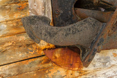 Anchor on Derelict Wooden Fishing Boat Wreck closeup Royalty Free Stock Images
