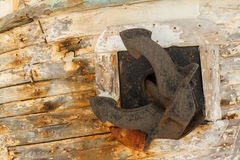 Anchor on Derelict Wooden Fishing Boat Wreck Stock Image