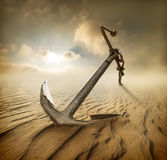 Anchor in desert Stock Photos