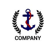 Anchor design. Nautical blue anchor red rope marine ship heavy metal steel naval equipment logo design classic retro vintage tattoo security military symbol Stock Photography