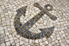 Anchor Design in Portuguese Mosaic Street Tiles Royalty Free Stock Image
