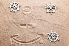 Anchor with ship wheel stock images