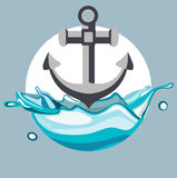 Anchor dropping in splash of water flat design vector Stock Photo