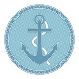Anchor. The emblem with the anchor can be used for graphic design, textile design or web design Royalty Free Stock Photo
