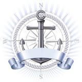 Anchor emblem, vector. Nautical emblem with metal anchor, compass rose and ribbon. Marine summer travel banner. Vector illustration royalty free illustration