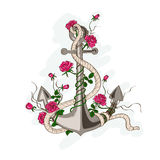 Anchor entwined with rose flowers. Hand drawn illustration of romantic sea anchor entwined with rose flowers Royalty Free Stock Image