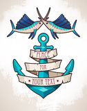 Anchor and fish. Illustration of anchor with banner and fish Stock Image