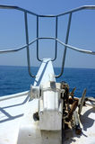 Anchor at forward pulpit of boat Stock Photo