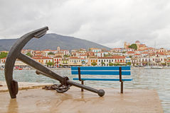 Anchor and Galaxidi Town Royalty Free Stock Image
