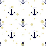 Anchor and gold glitter polka dots. Seamless background Stock Photography