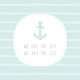 Anchor greeting card template. Vector EPS 10 hand drrawn illustration royalty free illustration