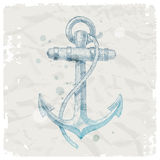 Anchor on grunge paper background Stock Image