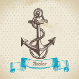 Anchor. Hand drawn illustration. In retro style Stock Images