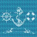 Anchor Hand drawn illustration and Background. Hand drawn illustration of old anchor and Background vector Royalty Free Stock Image