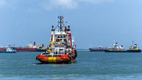 Anchor Handling Vessel near Singapore Royalty Free Stock Photo
