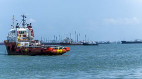 Anchor Handling Vessel on the ocean near Singapore Royalty Free Stock Photo
