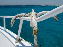 Anchor Hanging on the Handrail of a Yacht Stock Photography