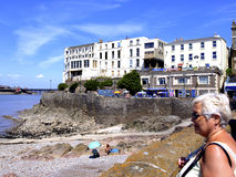 Anchor head, Weston-Super-Mare. A senior lady looking out from Anchor head, Weston-super-Mare, Somerset, England, UK Royalty Free Stock Photo