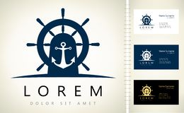 Anchor and helm logo. Design vector illustration Royalty Free Stock Photography