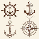 Anchor,helm,windrose Stock Photo